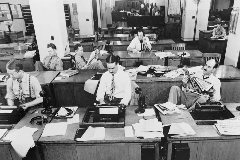 New York Times newsroom , 1942